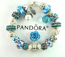 Authentic Pandora Silver Charm Bracelet with European Charms Rose Butterfly Love