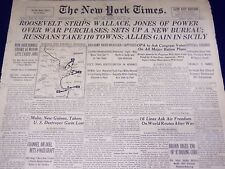 1943 JULY 16 NEW YORK TIMES - ROOSEVELT STRIPS WALLACE, JONES OF POWER - NT 1891