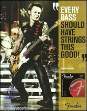 Green Day Mike Dirnt Fender Precision Bass Guitar Strings ad 8x11 advertisement