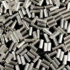 Perles de Rocailles Tubes en verre Trou argenté 4x2mm Cristal 20g