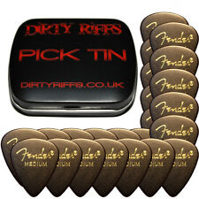 24 x Fender Black Medium Classic Celluloid Guitar Picks In A Handy Pick Tin