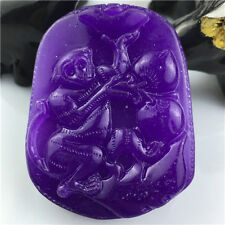 Natural Myanmar Handmade purple jadeite Emerald Jade monkey necklace Pendant