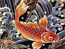 RPB263X Japanese Koi Fish Water Sea Wave Asian Exotic Japan Cotton Quilt Fabric