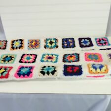 Vintage Crochet Afghan Granny Square Throw Wrap Blanket Cover