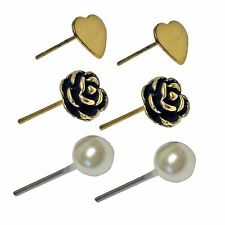 The Olivia Collection Heart, Rose and Simulated Pearl Stud Earrings Set of 3