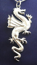 Dragon 24 Inch Necklace - 925 Sterling Silver Pendant Chain Wings Fantasy N66.C
