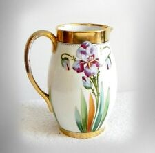 German pitcher with hand painted irises and gold - E W Donath - FREE SHIPPING