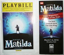 MATILDA TOUR PLAYBILL & BROCHURE KRAVIS CENTER WEST PALM BEACH FL USA PROGRAM