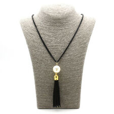 Charms Leather Tassel Pearl Pendant Boxes Chain Women Sweater Necklace Accessory