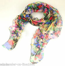 New Rainbow Color Beautiful 100% Silk Chiffon Flora Long Scarf Shawl Wrap