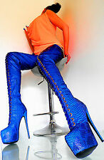 UNIQUE MADE IN ITALY HIGH HEELS SEXY BOOTS DAMEN STIEFEL LEATHERETTE 1 BLUE 46