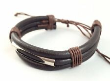 Leather w Cotton Thick Bracelet Anklet Wristband / Black Brown Mens Womens Kids