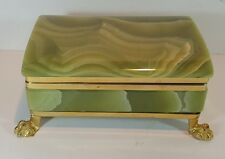 VINTAGE GREEN ONYX CIGARETTE CASE JEWELLERY TRINKET DRESSING TABLE BOX