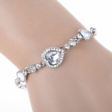 Elegant Women Lady Ocean Blue Crystal Rhinestone Heart Bangle Bracelet Gift New