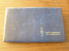 OEM Ford Dealers 1977 Lincoln Color Trim Facts Book Continental Mark V Town Car