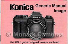 Konica auto s caméra guide d'instructions plus manuels énumérés.