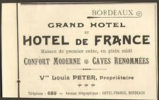 33 BORDEAUX HOTEL DE FRANCE LOUIS PETER PROPRIETAIRE PUBLICITE 1909