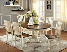 Vintage White & Dark Oak Finish 7pc Dining Set Oval Dining Table & 6 Side Chairs