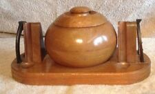 Vintage Round Beehive Shape 4 Pipes Wood Tobacco Rack Stand Holder 2 Horseshoes