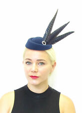 Navy Blue Black Long Pheasant Feather Pillbox Hat Fascinator Vtg Races 40s 579