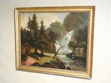 pre 1850 Hudson River Thomas Cole School Original Oil Painting NY Landscape