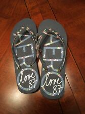Aeropostale FLIP FLOPS SANDALS WOMEN'S NEW Blue/Flowers Size 5 NWT