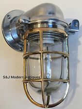 Vintage Industrial Wall Light Brass Aluminium Bulkhead Marine Nautical Ship Lamp