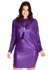 New-Metallic Purple Party Dress-Glimmer-Draped Front- Long Sleeves-Curve Size 18