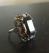 Fine Antique Chinese Sterling Silver LARGE Smoky Smokey Topaz Flower Art Ring