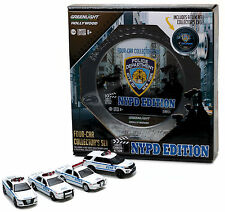 NYPD 4 Car Set - 2016 Dodge Charger FORD Crown Explorer **Greenlight 1:64 NEU