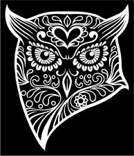 OWL Sugar Skull Decal Car Window Laptop Day of the Dead Die Cut Sticker #96