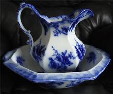 Vtg Antique ~ 1891 FLOW BLUE ~ WH Grindley DOREEN ~ PITCHER & BOWL SET ~ England
