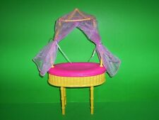 Barbie Doll Baby Bassinet Netted Canopy Pet Bed Pink & Yellow Furniture Mattel