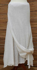 *ZUZA BART*DESIGN BEAUTIFUL 100% LINEN LAGENLOOK LAYERING SKIRT*WHITE*Size M