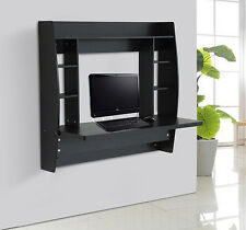 HomCom Floating Wall Mount Office Computer Desk Storage Furniture Black