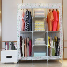 Triple Fabric Canvas Clothes Storage Organiser Wardrobe Shelves Hanging Cupboard