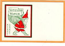 Woman Suffrage Postcard - Christmas Santa with Votes for Women Bag Suffragette