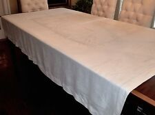 VINTAGE BIG IRISH LINEN TABLECLOTH DAMASK ASIAN DESIGN HEMSTITCH EDGE 64X84""