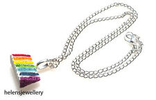 GORGEOUS HANDMADE PIANO / RAINBOW CAKE NECKLACE  + FREE GIFT BAG + FREE P&P