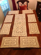 VINTAGE Chinese Chee Foo Set Linen Table Runner Place Mats Embroidered Cutwork