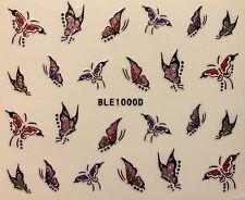 Nail Art 3D Decal Glitter Stickers Butterfly Butterflies BLE1000D