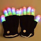 New Fashion Cool LED Flashing Gloves Glow 7 Mode Light Up Finger Lighting Black