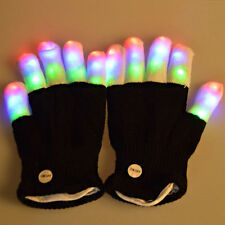 Fashion Cool LED Rave Flashing Glove Glow 7 Mode Light Up Finger Lighting Black