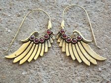 Brass ethnic earrings ruby red cut stone cabochons angel wings