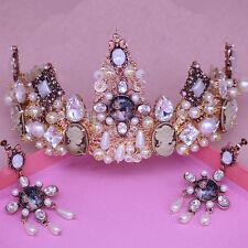 Vintage Wedding Bridal Black Crystal Queen Crown Tiara Earrings Jewelry Set Gift