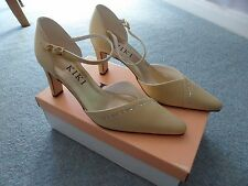 BNIB Gold (Beige) Satin Diamonte Wedding Shoes Mid Heel size 6.5 by Kiki