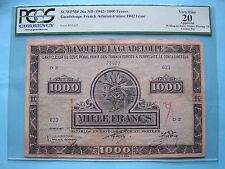 Guadeloupe French Adm. 1000 Francs 1942 Issue PCGS VF20 Apparent.  SCWPM26a