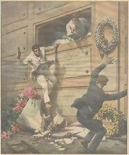 K0014 Cimitero di Portici - Carabinieri dentro loculo - Stampa - 1930 Old print