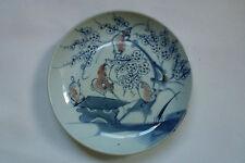 "Chinese Antique Porcelain Underglaze Blue&Copper Red Plate Plum Blossom Birds 9"""