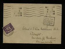 Great  Britian   postage  due  stamp on cover  1939  KL0325